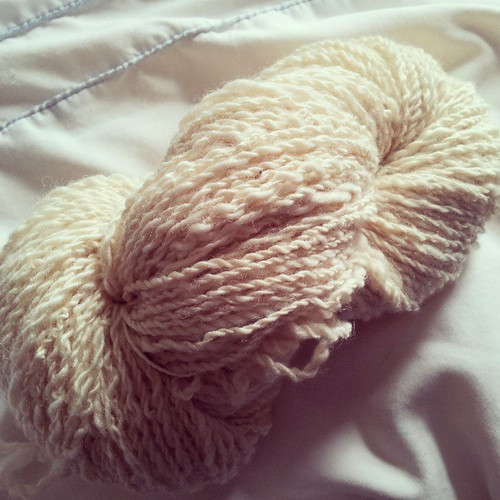 The first hank of yarn I have spun in a useable quantity! #craftphoto