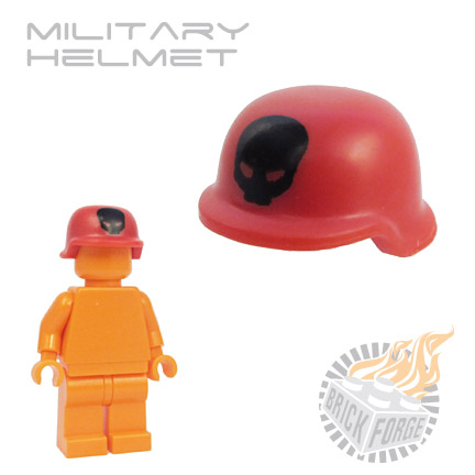 Military Helmet - Red (black skull print)