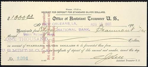 Silver Dollar Receipt