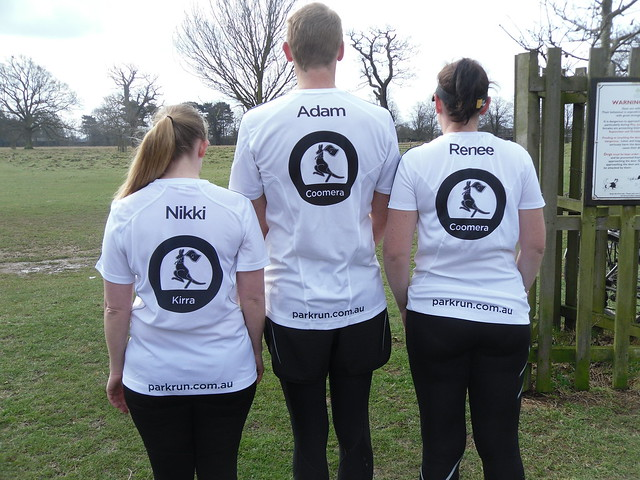 5f573aaf2 Nikki, Adam & Renee modelling their white Australian parkrun tops with  their names on, which they have to pay for!