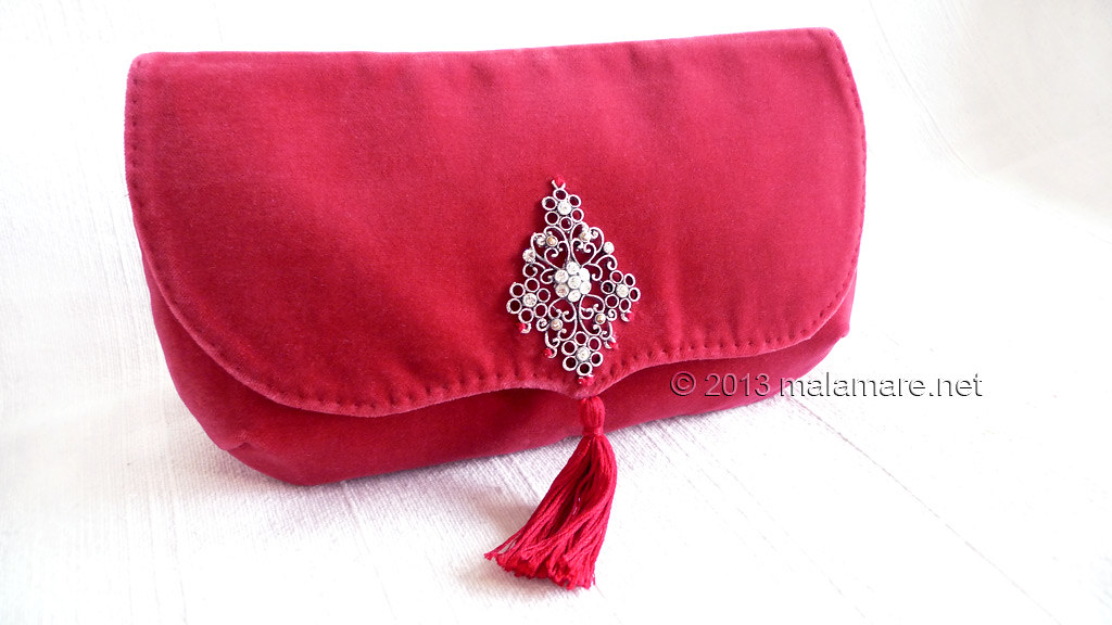 Formal velvet and satin handbags clutch bag