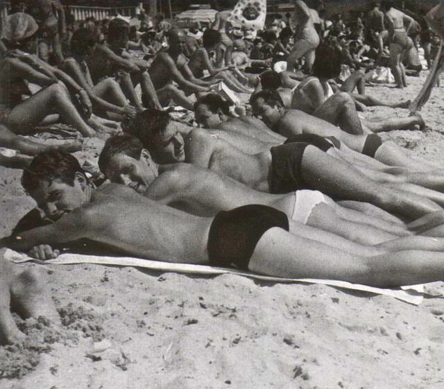 Vintage Photo: 1960s Men On Beach In Speedos