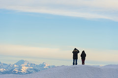 People observing the alps