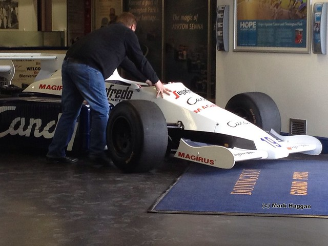 Ayrton Senna's 1984 Toleman on the move
