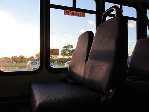 Late day sun shining through a passenger window.  Northbrook Illinois.  October 2013. by Eddie from Chicago