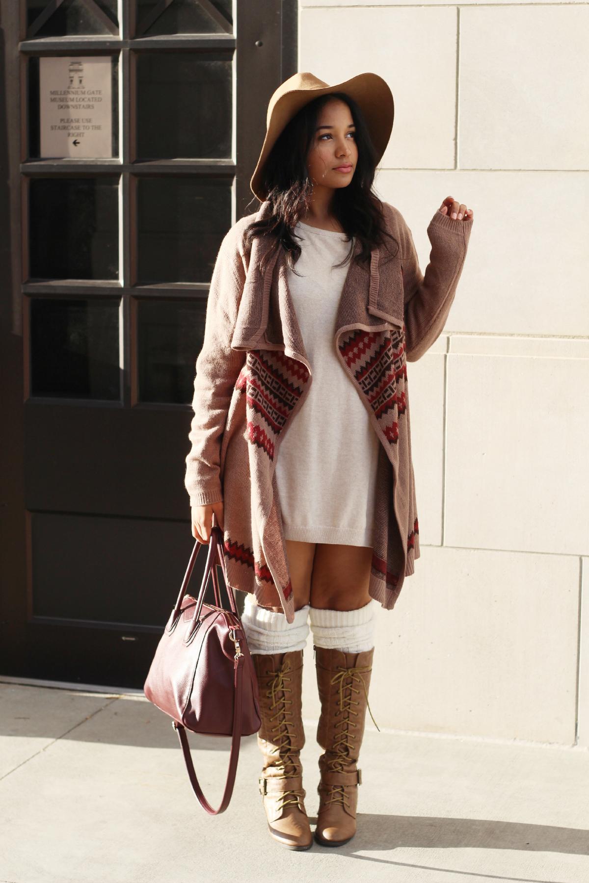 Sweater Dress & Open Cardi