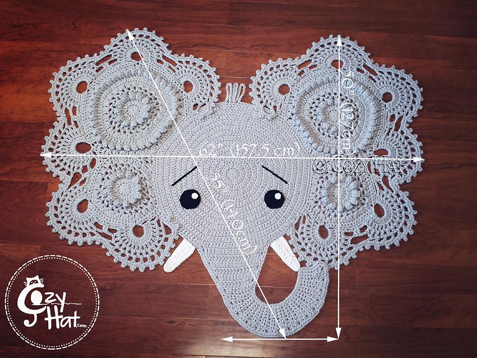 CROCHET PATTERN Josefina and Jeffery Elephant Rug PDF Crochet | Etsy | 720x960