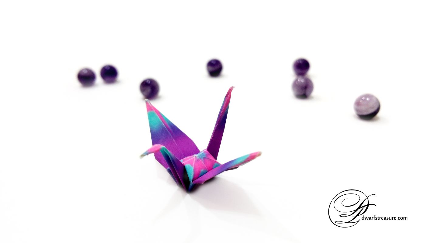 origami paper crane with real amethyst beads