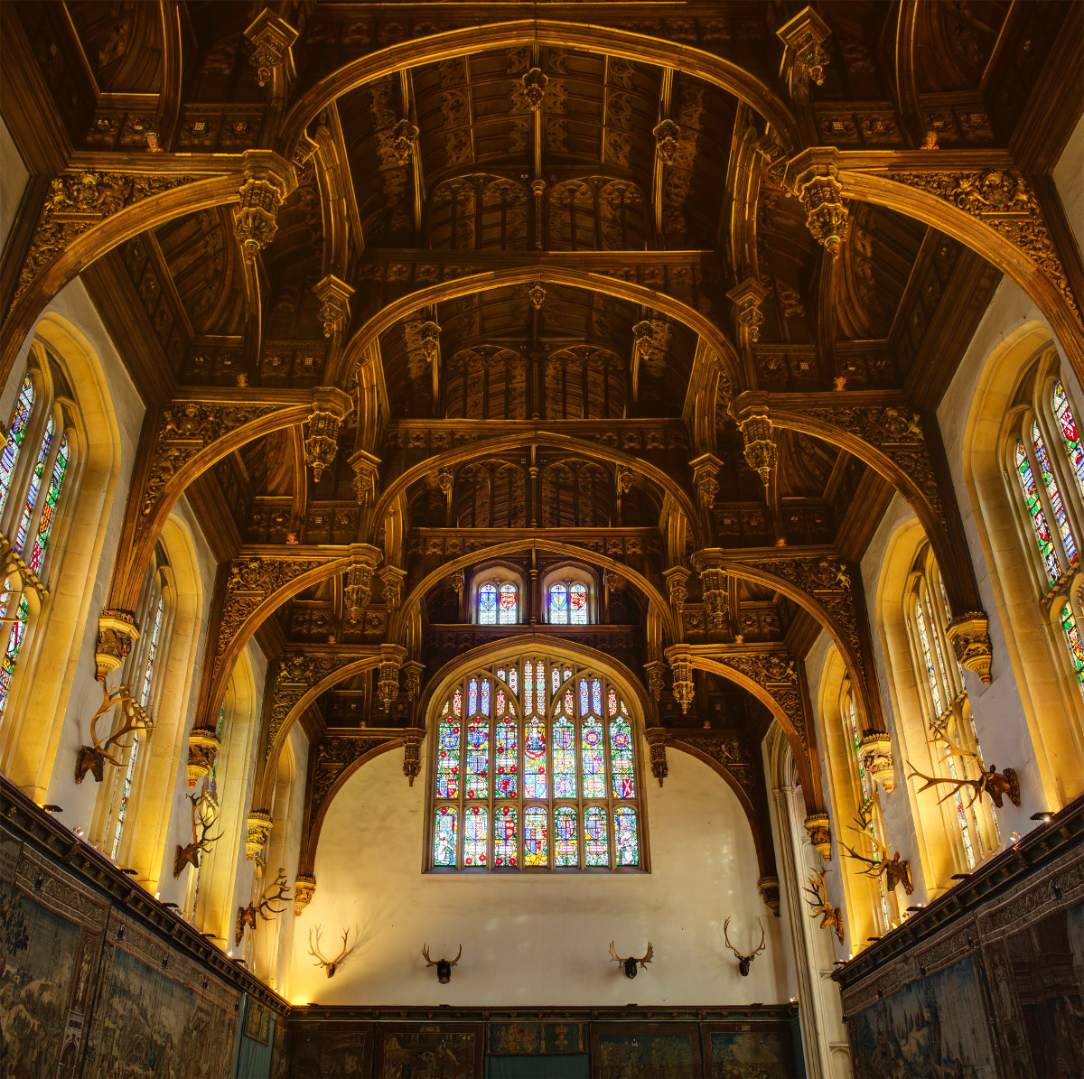 The ceiling of the Great Hall of Hampton Court Palace. Credit David Iliff