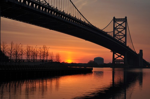 morning bridge philadelphia sunrise easter