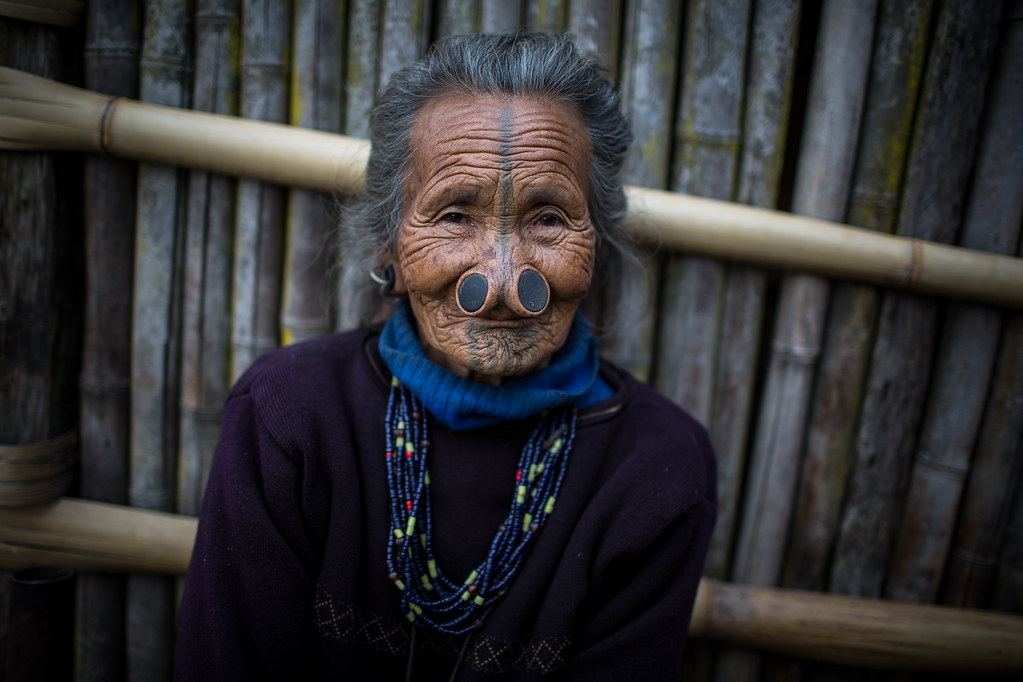 portrait of an old woman Apatani, ziro, arunachal pradesh