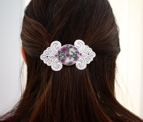 Faux Porcelain Barrette Pink in Hair