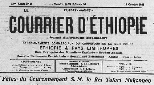Courrier d'Ethiopie - Fêtes du couronnement du Négus Tafari