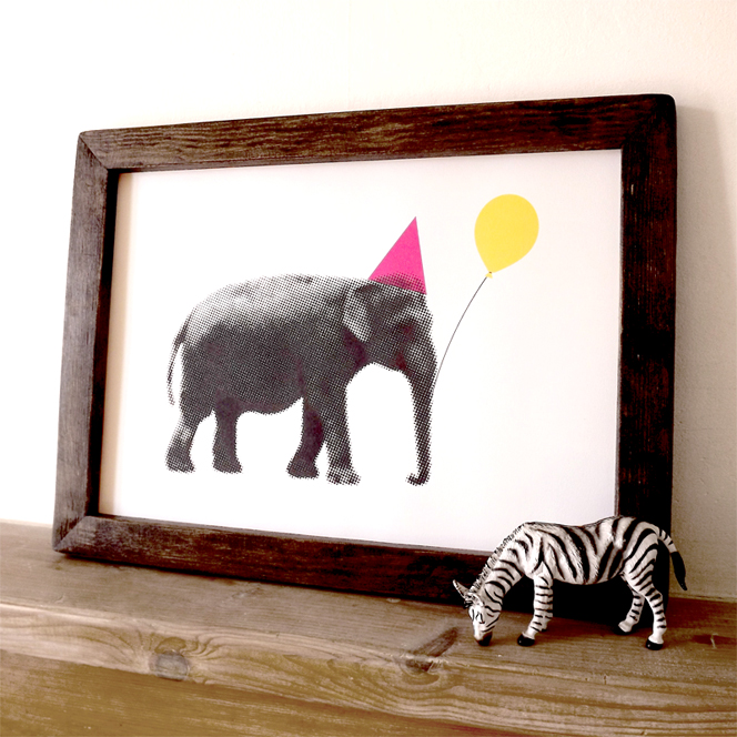 Girls_room_art_children_Party_elephant_print_design_fun_colourful