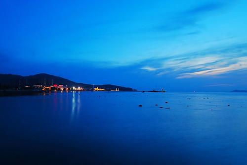 china blue sunset sea sky beach sanya hainan tinghay