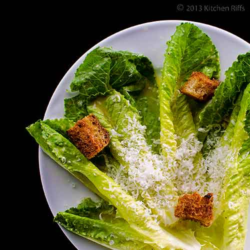 Caesar Salad on Plate with Croutons, Overhead View