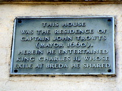 Photo of John Trowts and Charles II of England grey plaque