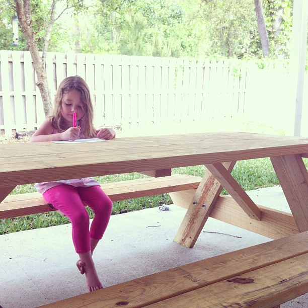 New picnic table success! #shelovesit @mrjonahbonah