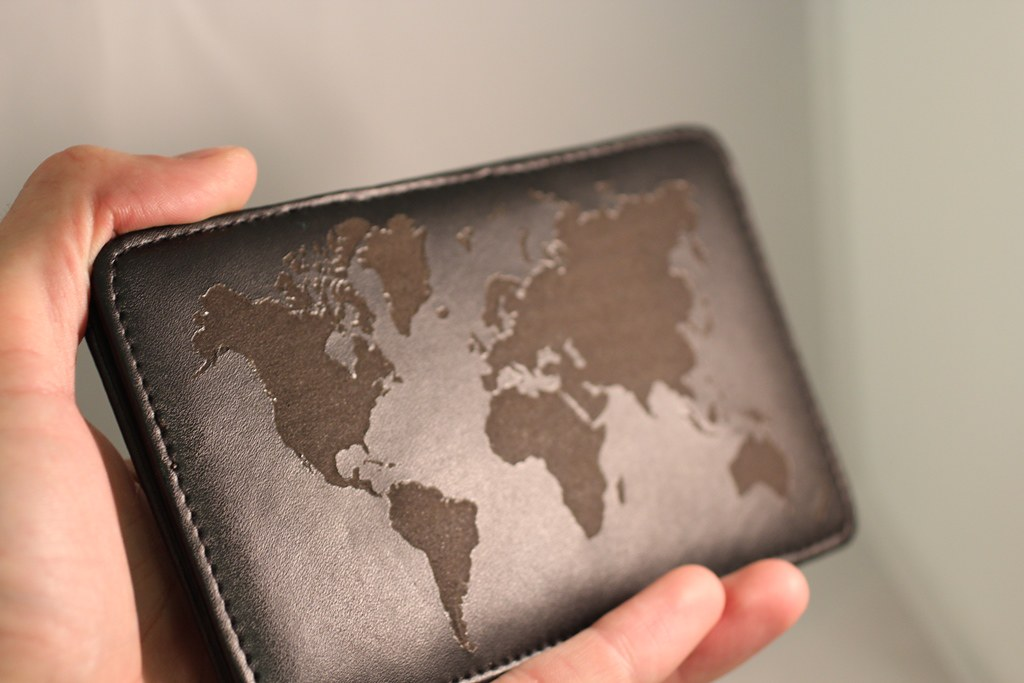 Travel wallet engraved with world map | Etch Work | Flickr