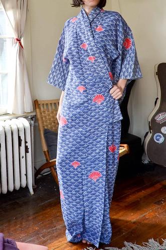 Blue Polyester Kimono