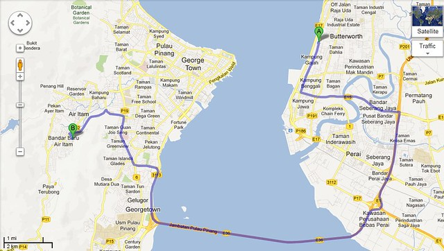 google map from butterworth to pasar air itam