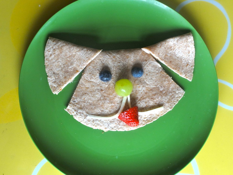 Easy Puppy lunch made with a tortilla wrap.  Simply fold over a wrap to make a turkey sandwich, and add fruit and string cheese for his face!  So fun!  By CreativeKidSnacks.com