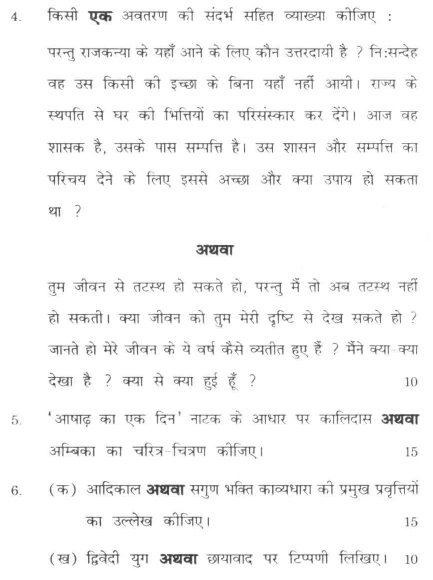 DU SOL B.A. Programme Question Paper -  Hindi Discipline -  Paper III