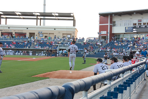 View from our seats down the left field line at Pensacola Bayfront Stadium