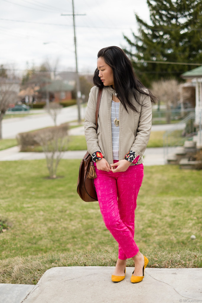 leather jacket and printed pants