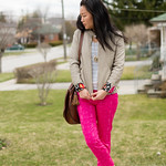 leather jacket and coloured pants