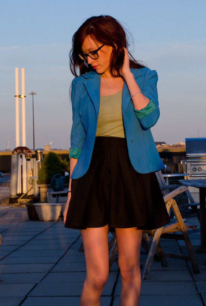 Blue green blazer