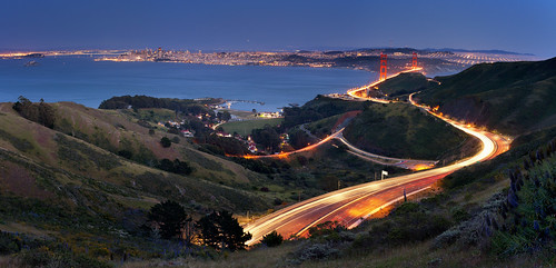 sanfrancisco california goldengatebridge sausalito marinheadlands scurve cartrails trailinglights scatrail