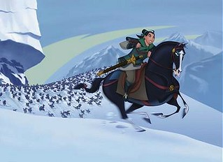 mulan and her horse in battle