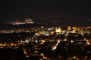 Night Cityscape View to Gold Gate Bridge From Twin Peaks