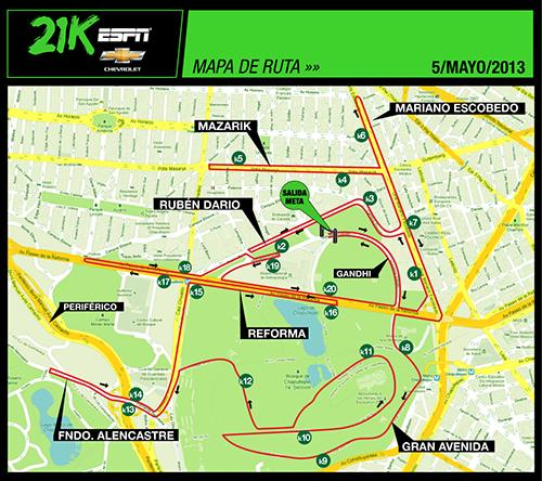 Ruta Medio Maratón ESPN 21K 2013