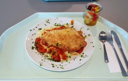 Piccata vom Seelachs auf Tagliatelle al tomato
