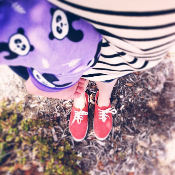 #vscocam #ootd #fromwhereistand  panda pjs for Lola, stripes for mommy.
