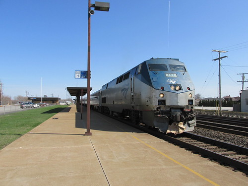 Westbound Amtrak train arriving at the Whiting Indiana station.  Sunday, April 21st, 2013. by Eddie from Chicago