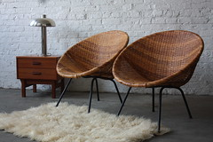 Classic Mid Century Modern Woven Hoop Chairs (1950s)