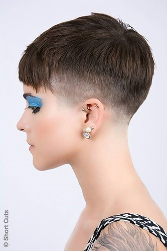 womens with shaved or very short nape haircut bob cut or