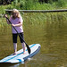 Mom tries stand up paddleboarding