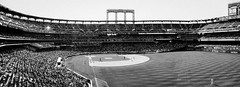 Sunday Day Game At Citi Field - 4 Photo Black And White Panoramic; Corona, New York
