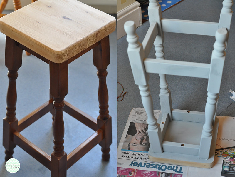 wooden stool revamp diy tranformation annie sloan chalk paint paris grey rottenotter rotten otter blog 1