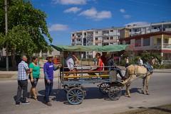 Subiendo al coche de caballos, en el reparto Virginia, modelo constructivo de edificios rusos Gran Panel, el primero de su tipo en Santa Clara. Levantado en los 70.  Cuba 2013