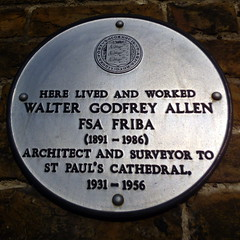Photo of Walter Godfrey Allen white plaque