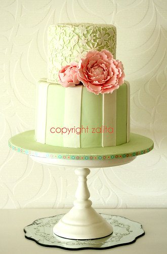 lace and peony birthday cake by {zalita}