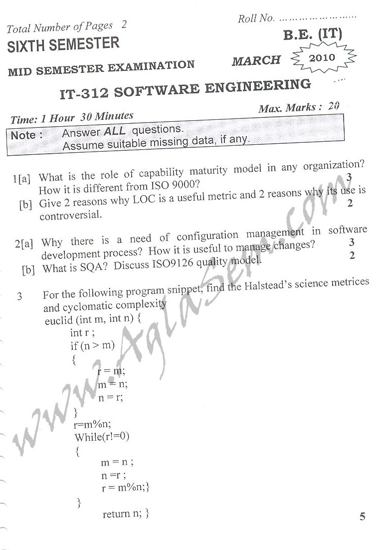 DTU Question Papers 2010 – 6 Semester - Mid Sem - IT-312