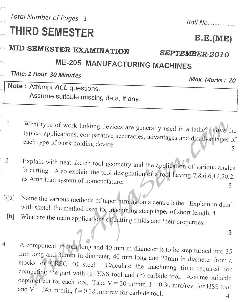 DTU Question Papers 2010 – 3 Semester - Mid Sem - ME-205