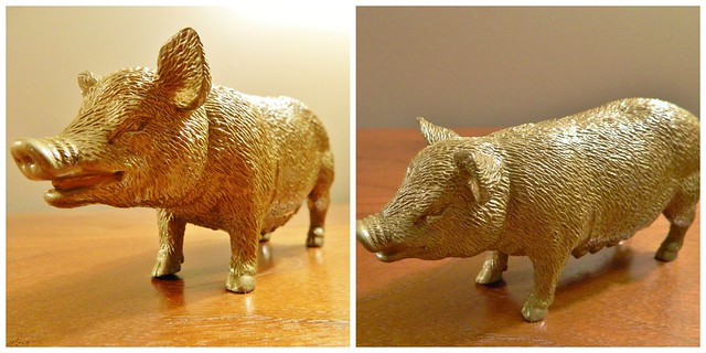 farm animal figurines in gold