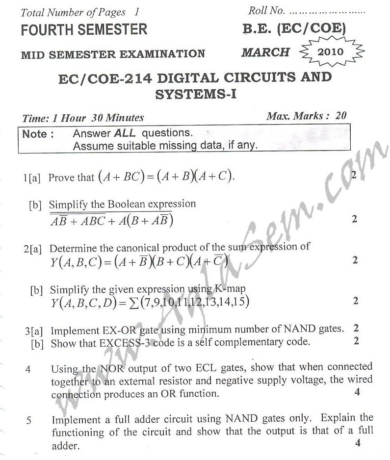 DTU Question Papers 2010 – 4 Semester - Mid Sem - EC-COE-214